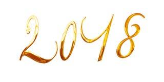 2018, letras douradas brilhantes elegantes do metal 3D isoladas no branco Imagens de Stock Royalty Free