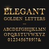 Letras douradas elegantes Alfabeto brilhante do vetor do ouro ilustração stock
