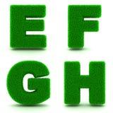 Letras E, F, G, H Sistema del alfabeto de hierba verde Fotos de archivo libres de regalías