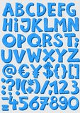 Letras e grupo listrados azuis do alfabeto do bebê dos números Fotografia de Stock Royalty Free