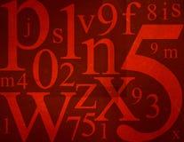 Letras e mistura dos números Fotografia de Stock Royalty Free