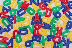 Letras e números coloridos Fotos de Stock Royalty Free