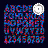 Letras e números coloridos com teste padrão Fotografia de Stock Royalty Free