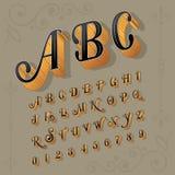 Letras e números com estilo do vintage ilustração stock