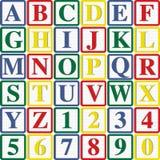 Letras e números de bloco do bebê Fotos de Stock Royalty Free