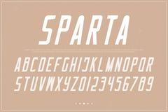 Letras e números itálicos do alfabeto vetor, tipo retro da fonte ilustração stock