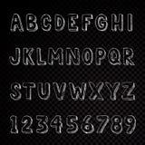 Letras e números tirados mão da tipografia do alfabeto ilustração stock
