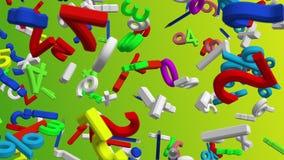 Letras e símbolos abstratos do voo em cores diferentes ilustração stock