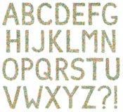 Letras e símbolos do alfabeto inglês feitos de doces pequenos Imagem de Stock