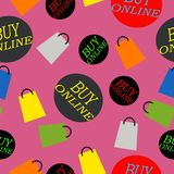 Letras e sacos de compras em uma cor cor-de-rosa ilustração do vetor