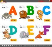 Letras educativas del alfabeto de la historieta para aprender ilustración del vector