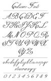Letras elegantes de la caligrafía con los florishes Fuente de Coliostro Foto de archivo libre de regalías