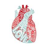 Letras en corazón stock de ilustración