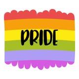 Letras en una bandera del arco iris, emblema del orgullo gay de la homosexualidad aislado en blanco LGBT endereza concepto stock de ilustración