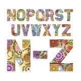 Letras enrrolladas de N a Z Imagen de archivo