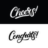 Letras escritas mano de las alegrías y de Congrats para la tarjeta de felicitación, la invitación, el cartel y la impresión Fotos de archivo