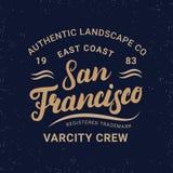 Letras escritas mano de San Francisco para la etiqueta, insignia, impresión de la camiseta en estilo retro del vintage Imagen de archivo