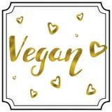 Letras escritas mano del oro del vegano Fotografía de archivo libre de regalías