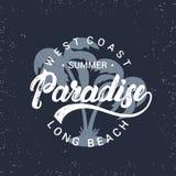 Letras escritas mano del paraíso del verano con el ejemplo de las palmas Foto de archivo libre de regalías