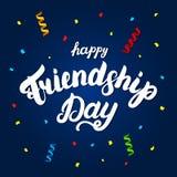 Letras escritas mano feliz del día de la amistad para la tarjeta de felicitación Fotografía de archivo