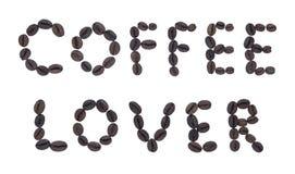 Letras feitas do AMANTE fritado do CAFÉ do café imagens de stock royalty free