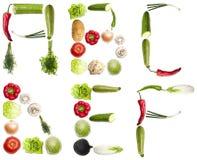 Letras feitas dos vegetais Foto de Stock