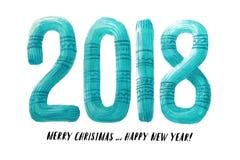 Letras feitas malha aquarela da camiseta letras feitas crochê Cartão 2018 do ano novo Imagens de Stock Royalty Free