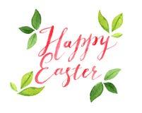 Letras felices con las hojas, ejemplo de Pascua de la acuarela Imagen de archivo libre de regalías