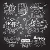 Letras felices de la mano del día de tarjeta del día de San Valentín Imagen de archivo