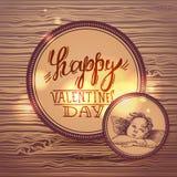 Letras felices de la mano del día de tarjeta del día de San Valentín Fotos de archivo libres de regalías