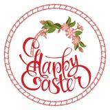 Letras felices de Pascua en el círculo, flores ilustración del vector