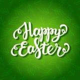 Letras felices de pascua en modelo verde floral Imagenes de archivo