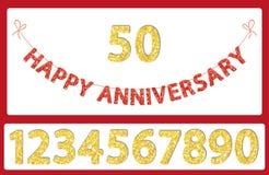 Letras felices y números del aniversario del brillo festivo lindo que golpean para su decoración stock de ilustración