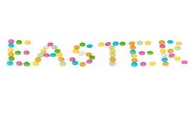 Letras felizes easter, candys coloridos isolados sobre imagem de stock royalty free