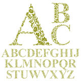 Letras florais fonte do estilo do vintage, alfabeto do vetor Imagens de Stock Royalty Free