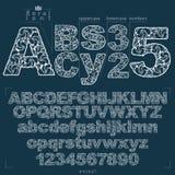 Letras florales y números de sans serif del alfabeto dibujados usando resumen stock de ilustración
