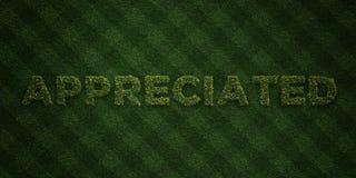 - Letras frescas da grama com flores e dentes-de-leão - 3D APRECIADO rendeu a imagem conservada em estoque livre dos direitos ilustração do vetor