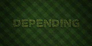 - Letras frescas da grama com flores e dentes-de-leão - 3D de DEPENDÊNCIA rendeu a imagem conservada em estoque livre dos direito Foto de Stock Royalty Free