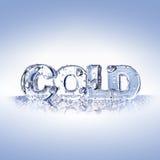 Letras frias em uma superfície azul do vidro Imagens de Stock Royalty Free