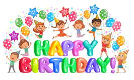 Letras grandes do feliz aniversario e crianças bonitos Foto de Stock