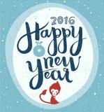 Letras hechas a mano de la Feliz Año Nuevo, tarjeta de felicitación Fotos de archivo