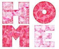 Letras Home do alfabeto com floral e corações ilustração royalty free