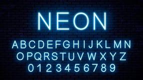 Letras inglesas de neón azules stock de ilustración