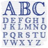 Letras inglesas decorativas dibujadas mano Fotografía de archivo