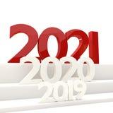 2021 letras intrépidas 3D-illustration del Año Nuevo ilustración del vector