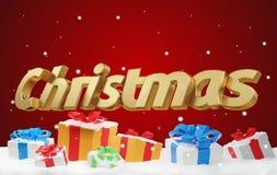 Letras intrépidas de la Navidad con los regalos de Navidad 3d-illustration libre illustration