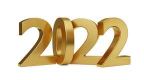 2022 letras intrépidas de oro aislaron 3d-illustration ilustración del vector