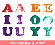 Letras isoladas do carimbo de borracha ajustadas Fotografia de Stock