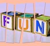 Letras Joy Pleasure And Excitement mala de la diversión Imagen de archivo