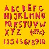 Letras latinas y números de ABC ilustración del vector